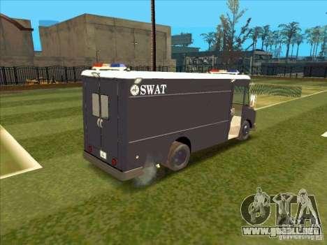 Swat Van from L.A. Police para GTA San Andreas vista hacia atrás