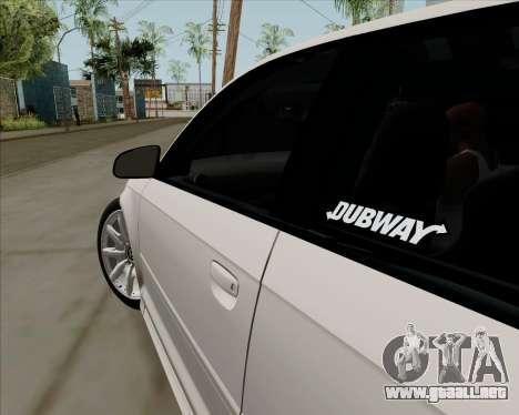 Audi S3 V.I.P para GTA San Andreas vista hacia atrás