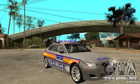 Metropolitan Police BMW 5 Series Saloon para GTA San Andreas vista hacia atrás