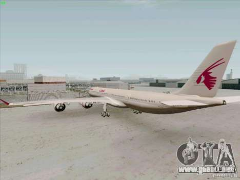 Airbus A-340-600 Quatar para la visión correcta GTA San Andreas