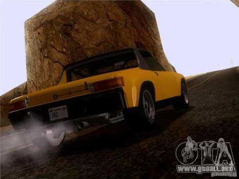 Porsche 914-6 para GTA San Andreas vista hacia atrás