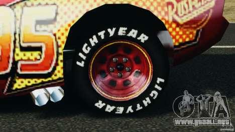 Lightning McQueen para GTA 4 vista hacia atrás