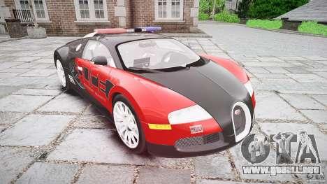 Bugatti Veyron 16.4 Police [EPM/ELS] para GTA 4 vista hacia atrás