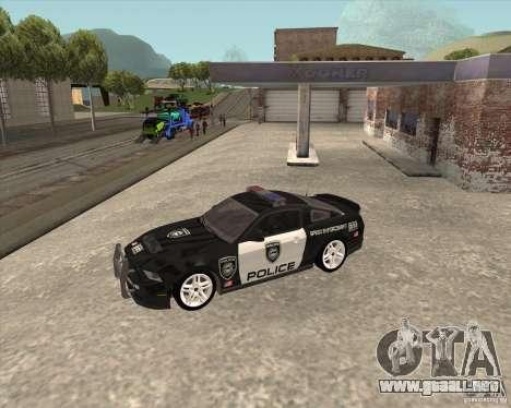 Ford Shelby GT500 2010 Police para GTA San Andreas vista hacia atrás