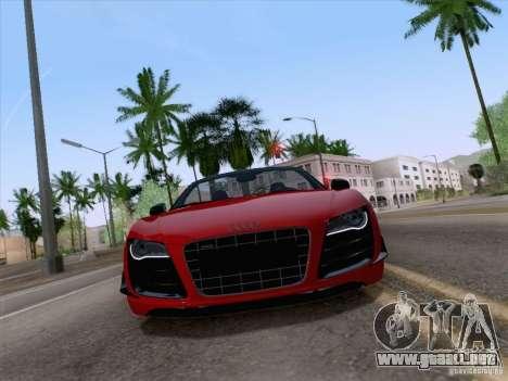 Audi R8 GT Spyder para GTA San Andreas vista posterior izquierda