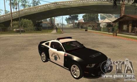 Shelby GT500 2010 Police para visión interna GTA San Andreas