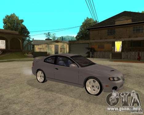 2005 Pontiac GTO para la visión correcta GTA San Andreas