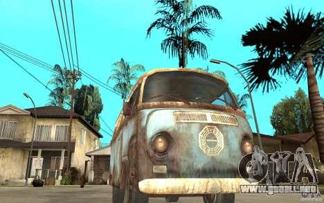 Dharma-Van (VW Typ 2 T2a) para GTA San Andreas vista hacia atrás