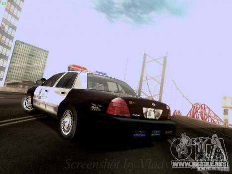 Ford Crown Victoria Los Angeles Police para GTA San Andreas vista posterior izquierda