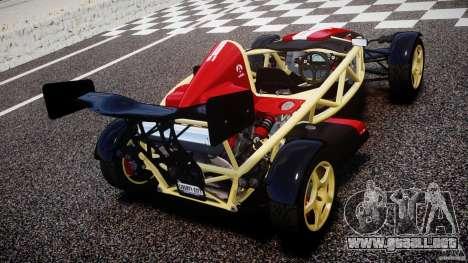 Ariel Atom 3 V8 2012 Custom Mugen para GTA 4 Vista posterior izquierda