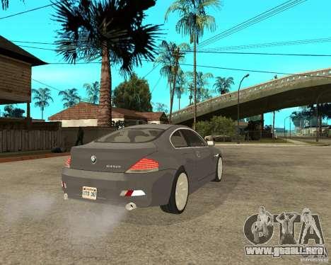 BMW 645Ci 04 para GTA San Andreas vista posterior izquierda