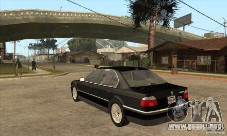 BMW E38 750IL para GTA San Andreas vista posterior izquierda