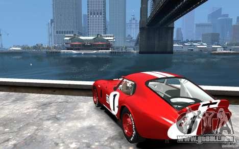 Shelby Cobra Daytona Coupe 1965 para GTA 4 Vista posterior izquierda