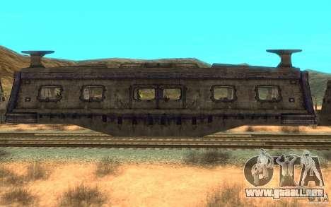 Un tren desde el juego Aliens vs Predator v1 para GTA San Andreas vista posterior izquierda
