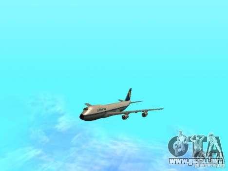 Boeing 747-100 Lufthansa para GTA San Andreas vista hacia atrás