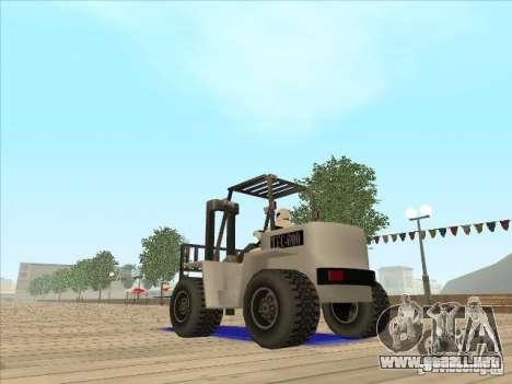 Forklift extreem v2 para GTA San Andreas vista posterior izquierda