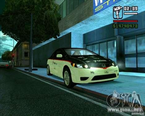 Honda Civic 2006 Coupe 1.1 para GTA San Andreas vista posterior izquierda