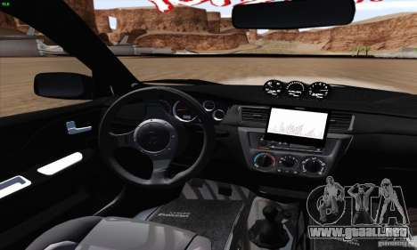 Mitsubishi Lancer EVO VIII BlackDevil para visión interna GTA San Andreas