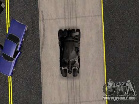 Tumbler Batmobile 2.0 para vista lateral GTA San Andreas
