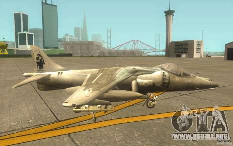Harrier GR7 para GTA San Andreas vista posterior izquierda
