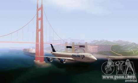 Boeing 747-8F para GTA San Andreas vista posterior izquierda
