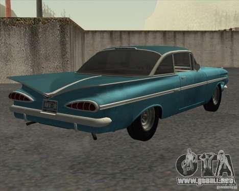 Chevrolet Impala Coupe 1959 Used para GTA San Andreas vista posterior izquierda