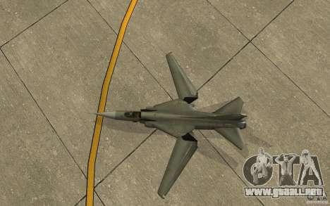 MiG-23 a los Flogger para GTA San Andreas vista hacia atrás