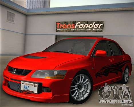 Mitsubishi Lancer Evolution IX Tunable para vista inferior GTA San Andreas
