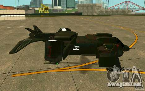 Aliens vs. Predator Marine Drobship para GTA San Andreas vista posterior izquierda
