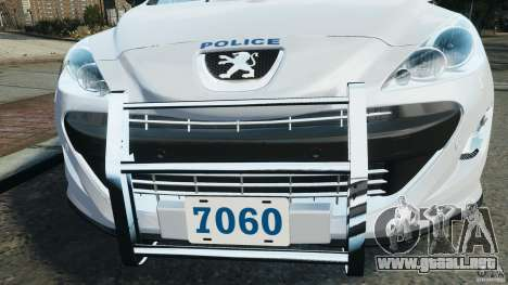 Peugeot 308 GTi 2011 Police v1.1 para GTA 4 ruedas