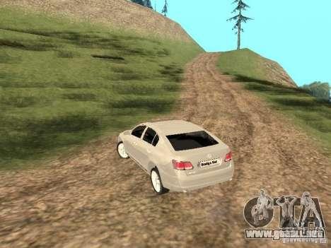 Lexus GS-350 para GTA San Andreas vista posterior izquierda