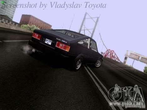 Toyota Corolla TE71 Coupe para GTA San Andreas vista posterior izquierda