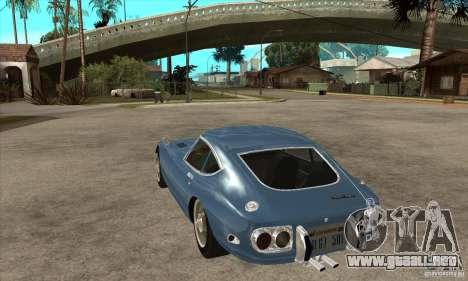 Toyota 2000GT para GTA San Andreas vista posterior izquierda