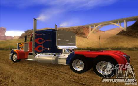 Truck Optimus Prime v2.0 para GTA San Andreas vista posterior izquierda