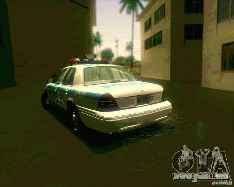 Ford Crown Victoria 2003 NYPD police V2.0 para GTA San Andreas vista posterior izquierda