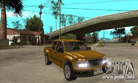 GMC Canyon 2007 para GTA San Andreas vista hacia atrás