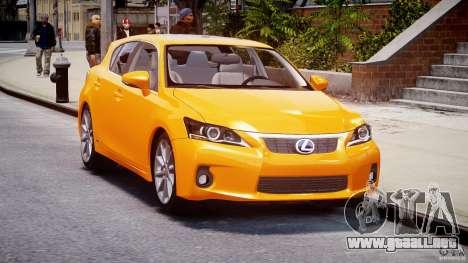 Lexus CT200h 2011 para GTA 4 vista hacia atrás