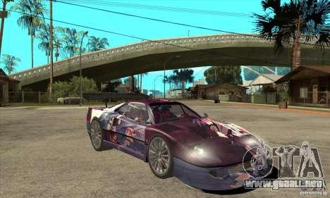 Ferrari F40 2000 Extreme para GTA San Andreas vista hacia atrás