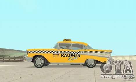 Chevrolet Bel Air 4-door Sedan Taxi 1957 para GTA San Andreas vista hacia atrás