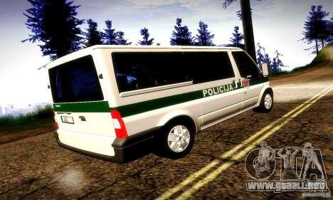Ford Transit Policija para la visión correcta GTA San Andreas