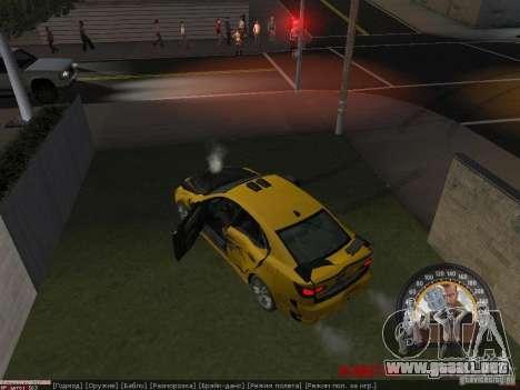Lexus IS300 para GTA San Andreas vista hacia atrás