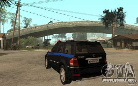 Mercedes Benz GL500 policía para GTA San Andreas vista posterior izquierda