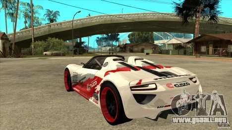 Porsche 918 Spyder Consept para GTA San Andreas vista posterior izquierda
