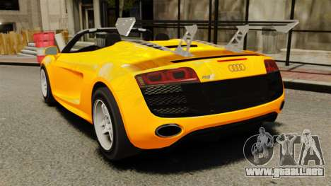 Audi R8 Spyder para GTA 4 Vista posterior izquierda