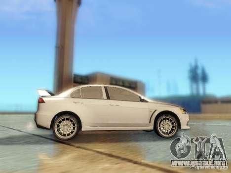 Mitsubishi Lancer Evolution X para GTA San Andreas vista hacia atrás