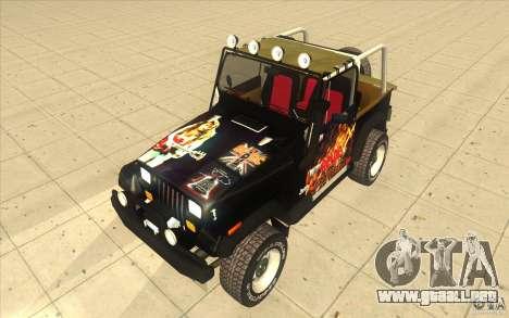 Jeep Wrangler 4.0 Fury 1986 para GTA San Andreas vista hacia atrás