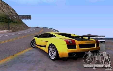 Lamborghini Gallardo Superleggera para GTA San Andreas vista posterior izquierda