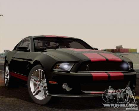 Ford Shelby GT500 2011 para visión interna GTA San Andreas
