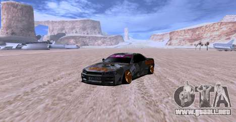 Nissan Skyline GTR34 MAXXIS para GTA San Andreas vista posterior izquierda