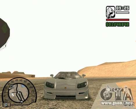 Koenigsegg CC8S para GTA San Andreas vista posterior izquierda